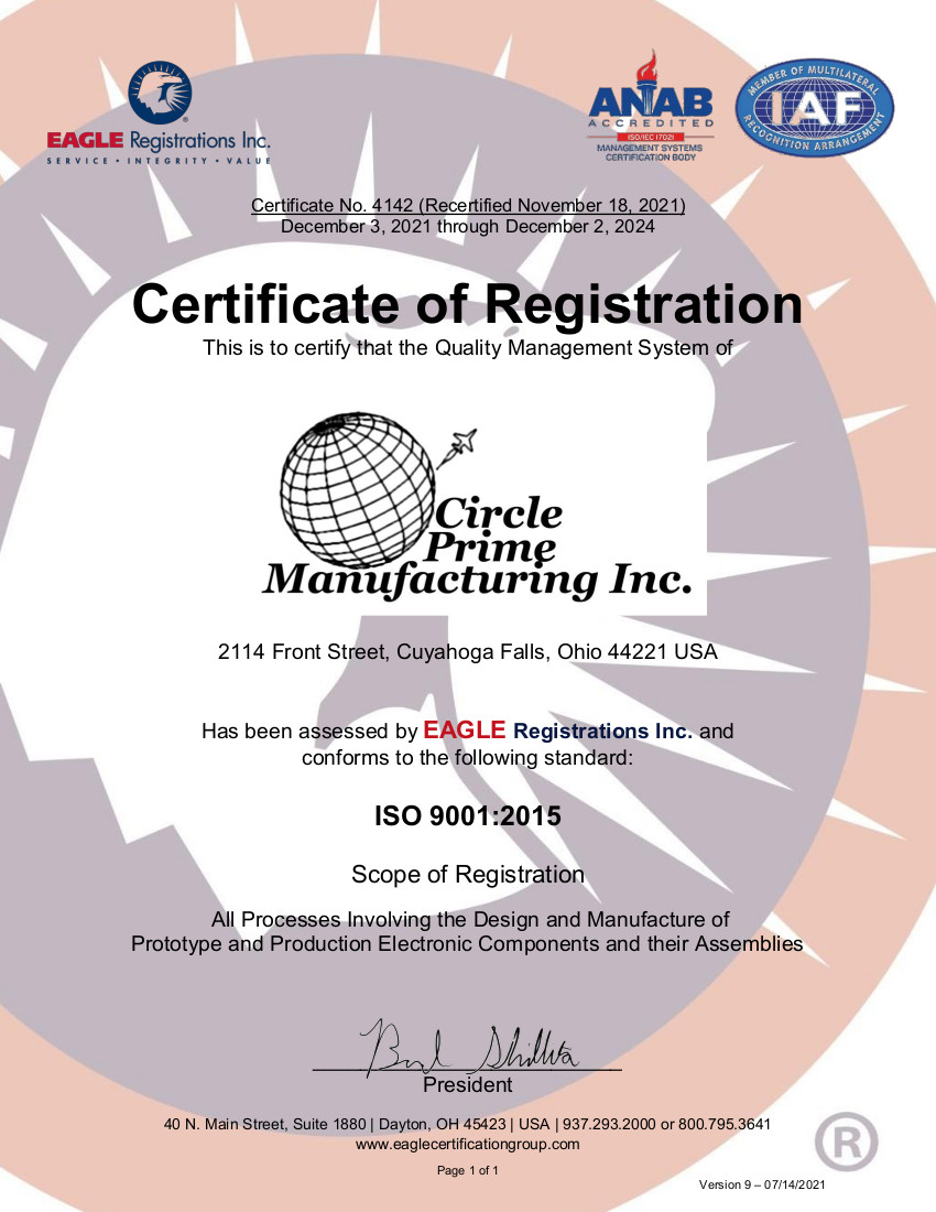 Electronics contract manufacturer design services circle prime proudly circle prime manufacturing inc has been iso 9001 certified since 2009 the scope of the circle prime manufacturing quality system details all 1betcityfo Choice Image